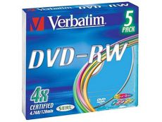 Диск DVD-RW Verbatim 4.7Gb 4x Slim Color (5шт) 43563
