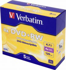 Диск DVD+RW Verbatim 4.7Gb 4x DataLife+ Jewel Case (5шт) 43229