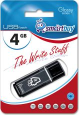 Флешка SmartBuy 04GB Glossy Series Black 4Гб черный