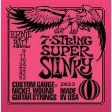Гитарные струны Ernie Ball 7-String Super Slinky, electric guitar strings, 9-52